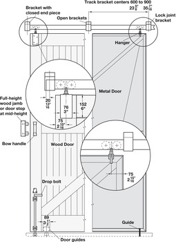 Metal Door Trolley Hanger, Vertical and Lateral Adjustment With Extended Pendant