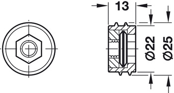 Mounting Plate, with internal thread for threaded bolt