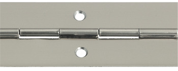 Piano hinge, for screw fixing, stainless steel quality 1.4016