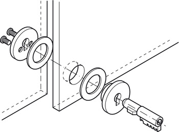 Plug-in cylinder lock, for Glass Panels