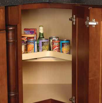 Pole Mounted Revolving Shelf, Kidney Shaped, Two-Shelf