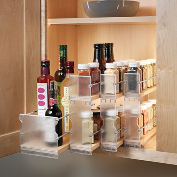 Pull-Out Spice Rack, Wooden Cabinet Accessory