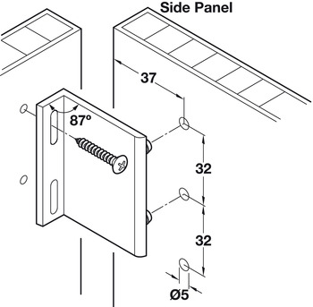 Rear Panel Bracket, for 32 mm Series Holes
