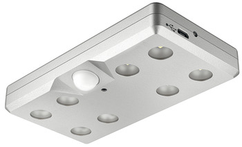 Rechargeable Surface Mounted Light, Monochrome, Battery-Operated, Loox LED 9004, with Motion Detector