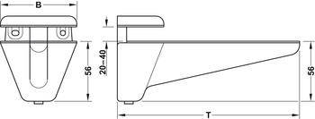 Shelf Support, Zinc, 20 - 40mm Glass Thickness