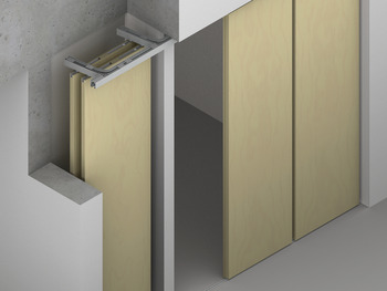 Sliding door fitting, Hawa Aperto 60/H, Set for hinged door