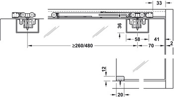 Sliding Door Hardware, EKU Clipo 16 GK IF, set