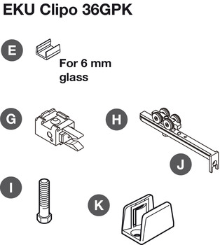 Sliding Door Hardware, EKU Clipo 36 GPK/GPPK Inslide Set