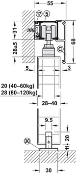 Sliding Door Hardware, Slido Classic 120-P, set