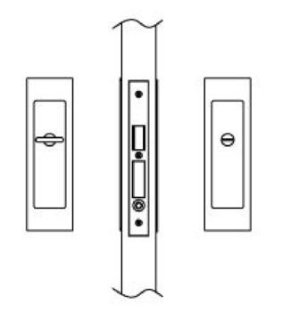 Sliding/Pocket Door Lock, Privacy with Emergency Release