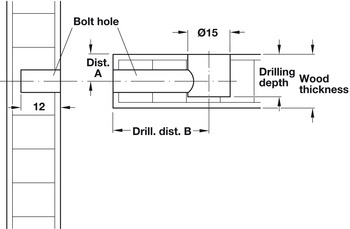 Spreading Bolt, C100, Minifix® System, for Ø 5 mm Drill Hole