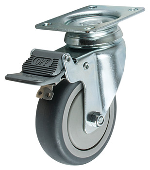 Swiveling Caster, Plate Mount, with Brake