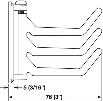 Three Prong Hook, 26 x 66 x 76 mm (W x D x H)