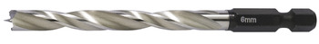 Twist drill bit for wood, HSS, with hexagonal shank 1/4
