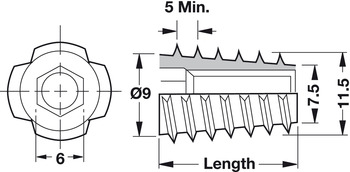 Type E Insert, 1/4-20, Screw-Mounted