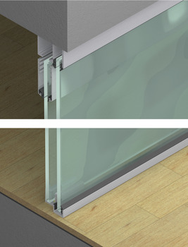 Upper Track, with fixed glass panels, door weight up to 80 kg