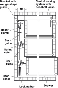 Vertical Lock Bar, with Attached Spring and Lock Bar