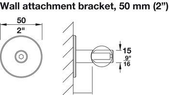 Wall Attachment, with 50mm (2) Spacer