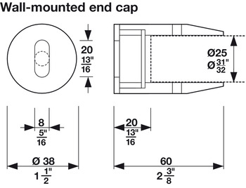 Wall Mount End Cap, Ø38 mm (1 1/2)