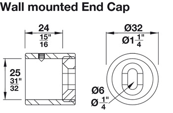 Wall Mounted End Cap, Height Adjustable by +/- 3 mm (1/8)