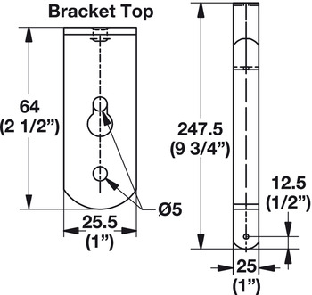 Wardrobe Bracket, for Round Wood Wardrobe Tube