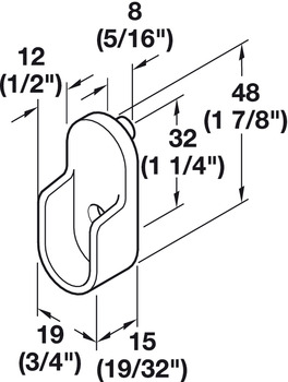 Wardrobe Tube Support with Dowels, for Oval Wardrobe Tubes