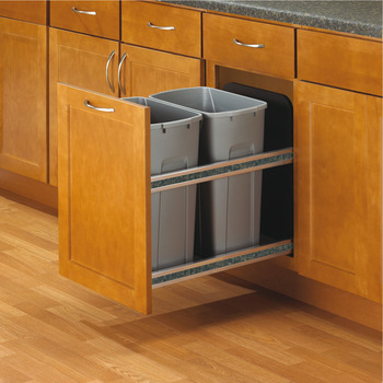 Waste Bin Pull-Out, KV Bottom Mount, Double, 35 Qt, Undermount Slide with Soft-Close