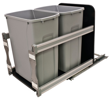 Waste Bin Pull-Out, KV Bottom Mount, Double, 50 Qt, Undermount Slide with Soft-Close
