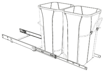 Waste Bin Pull-Out, KV Bottom Mount, Double, Ball Bearing Slide with Overtravel and Soft-Close