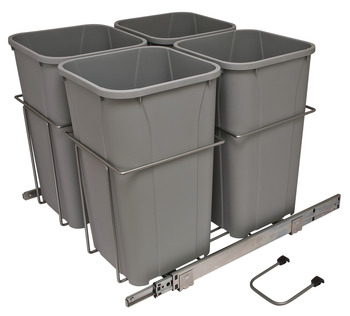 Waste Bin Pull-Out, KV Bottom Mount, Four Bin, Ball Bearing Slide with Overtravel and Soft-Close