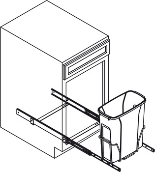 Waste Bin Pull-Out, KV Bottom Mount, Single, Ball Bearing Precision Slide with Overtravel