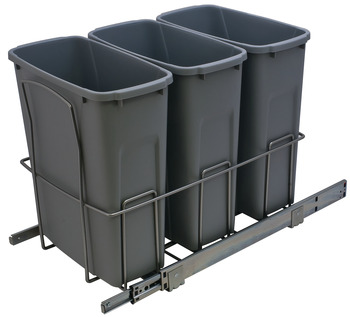 Waste Bin Pull-Out, KV Bottom Mount, Triple, Ball Bearing Slide with Overtravel and Soft-Close