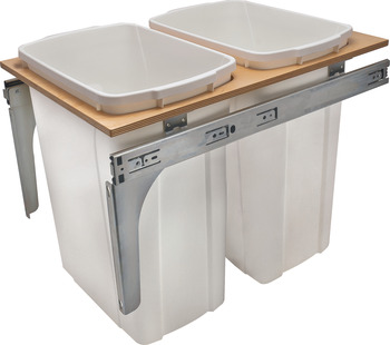 Waste Bin Pull-Out, KV Wood Frame Side Mount, Double, Depth is 22 1/2