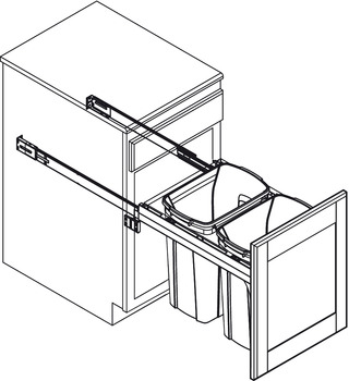 Waste Bin Pull-Out, KV Wood Frame, Side Mount, Double, Depth is 23 3/16