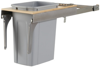 Waste Bin Pull-Out, KV Wood Frame, Side Mount, Single, Depth is 23 3/16