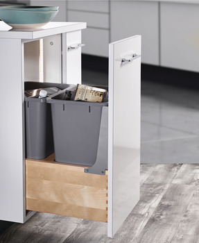 Waste Bin Pull-Out, Wood Frame, Bottom Mount, Double, with Grass Elite Undermount Slides