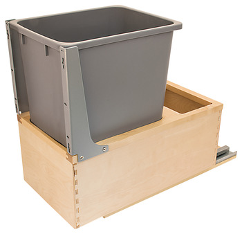 Waste Bin Pull-Out, Wood Frame, Bottom Mount, Single, with Grass Elite Undermount Slides
