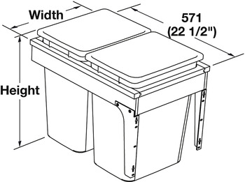 Waste Bin Pull-Out, Wood Frame, Side Mount, Double