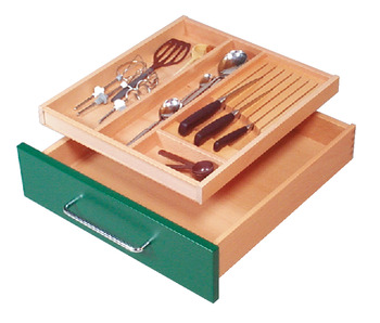 Wooden cutlery insert, for wooden drawer