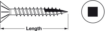 Zip-R Screw, Flat Countersunk Head, #2 Square Drive, with Nibs