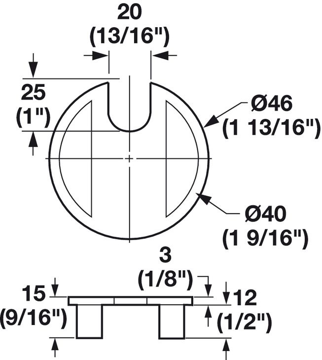 metal cable grommet  one-piece  round   u00d840 mm