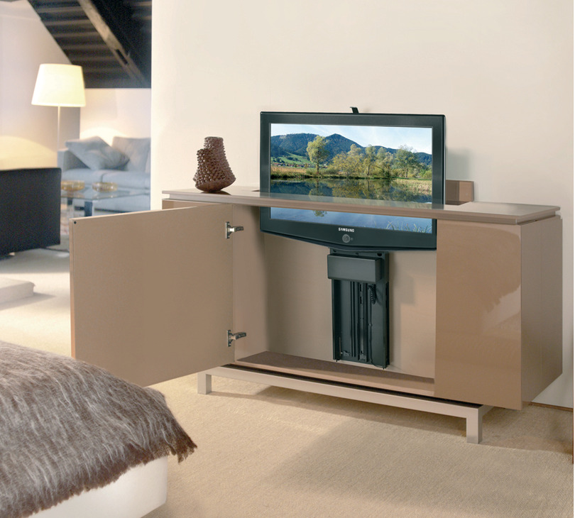 motorized tv lift for large tv panels in the h fele. Black Bedroom Furniture Sets. Home Design Ideas
