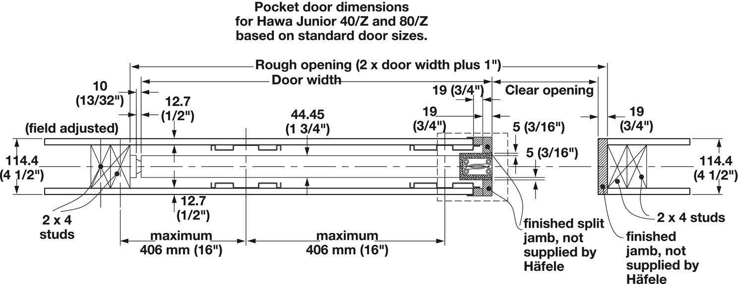 Pocket Door Framing Kit With Jr. Sliding Hardware, Futura. Futura