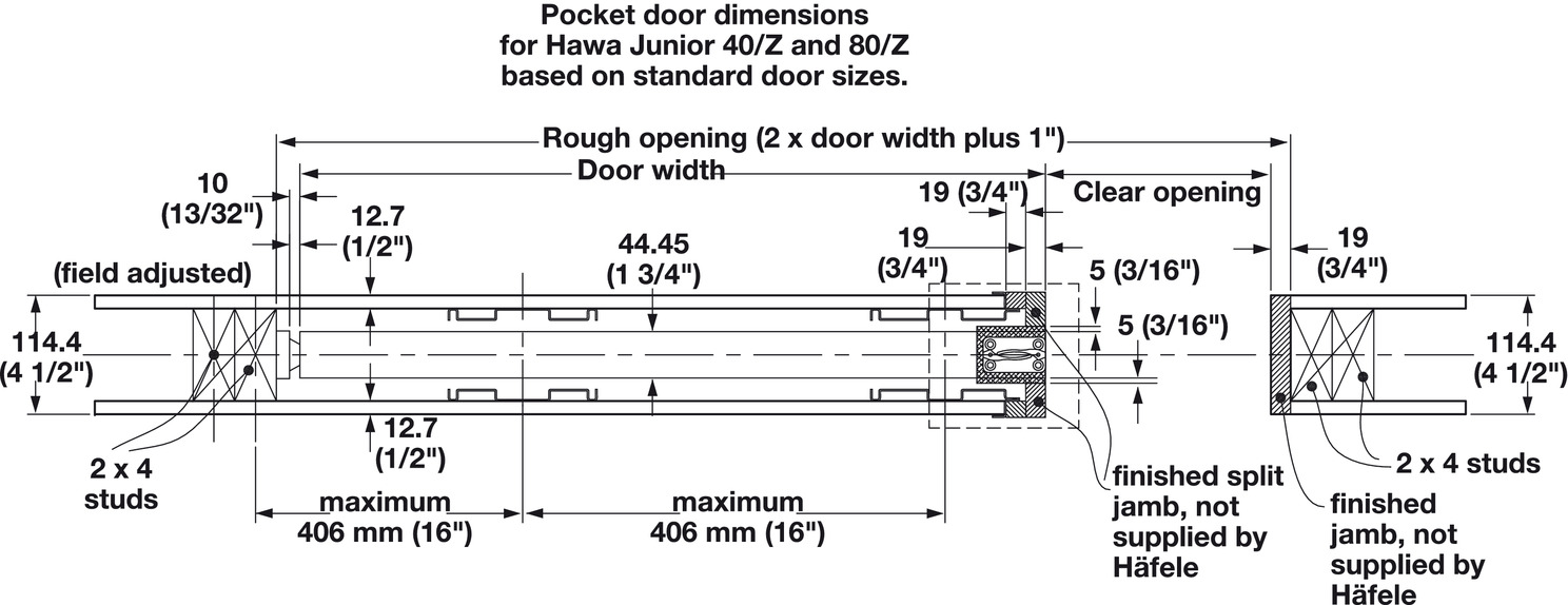 Pocket Door Framing Kit With Jr Sliding Hardware In The Hfele