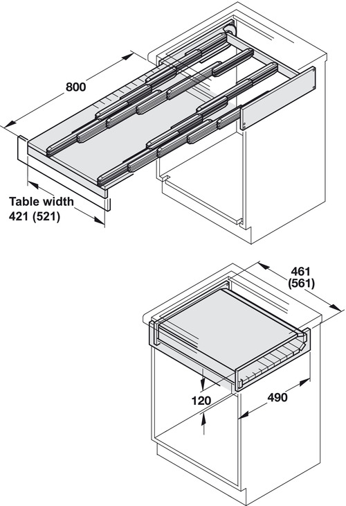 Pull Out Table System For Kitchen Cabinets 100 Kg In The Häfele