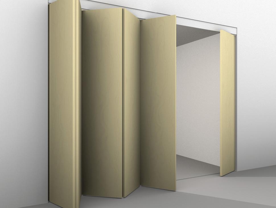 Concertina wall and access door fitting for wooden folding sliding doors height adjustable for door weights up to 80 kg for door widths 500-900 mm & Sliding Door Hardware Hawa Centerfold 80/H - in the Häfele America Shop