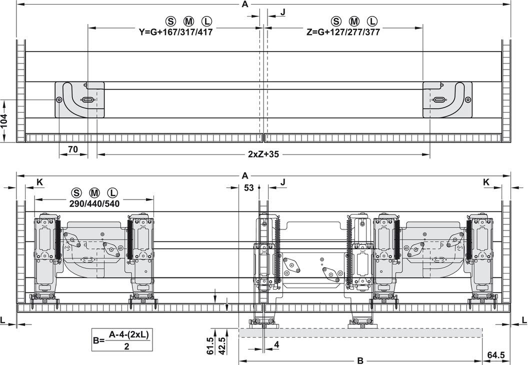 Sliding door hardware eku frontino 20 set in the for Sideboard zeichnung