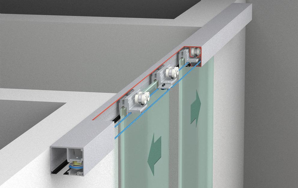 Sliding door hardware eku porta 100 gw gwf synchro set for Ceiling mounted sliding panels