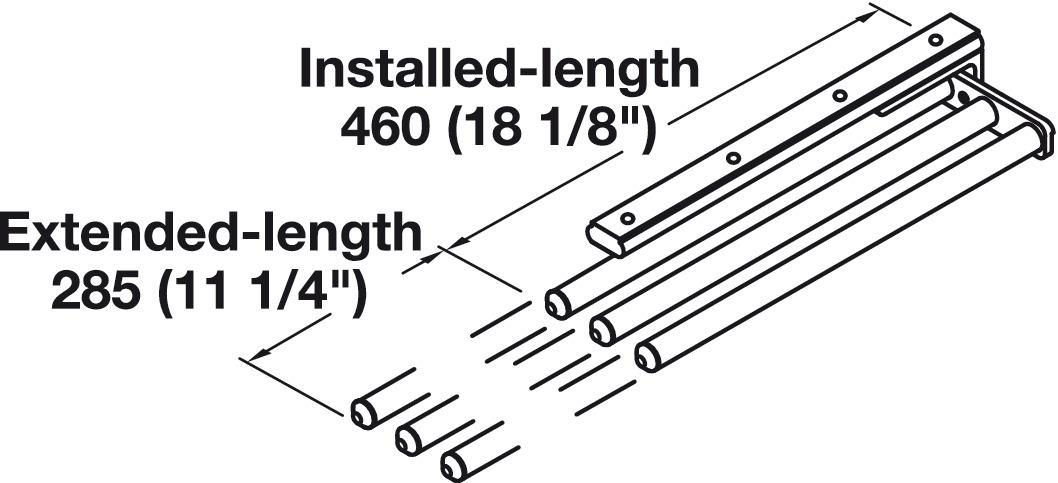 towel rack pullout 3 bar extendable