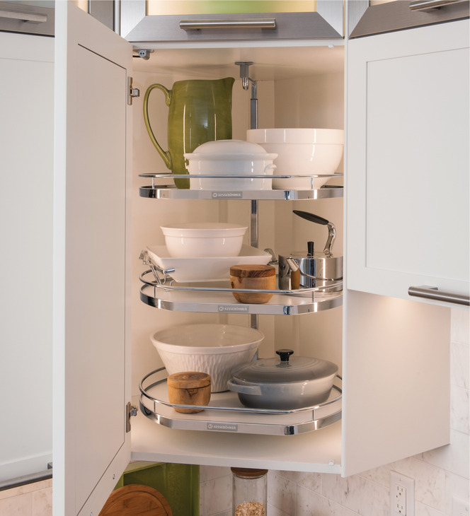 Shelving Twister Set Melamine Two Or Three Tray For Upper Cabinets Painted White Kitchen
